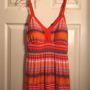 Athleta Orange Striped Pocketed Maxi Sundress